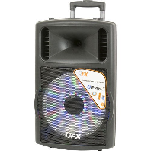"QFX 12"" Battery-Powered Bluetooth PA Speaker with LED Light (Black)"