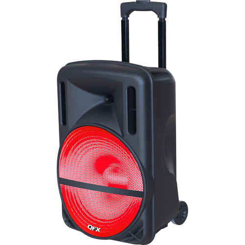 "QFX PBX-61126 Portable Battery Powered 12"" PA Party Speaker w/ Bluetooth, FM, & USB/SD"