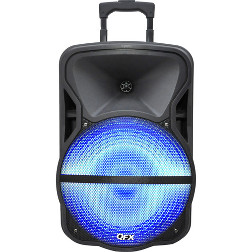 "QFX PBX-61151 Portable Battery Powered 15"" PA Party Speaker w/ Bluetooth, FM, & USB/SD"