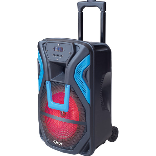 "QFX PBX-61158 15"" Portable Rechargeable Battery-Powered Party Speaker with USB/SD/FM/Bluetooth (Blue)"