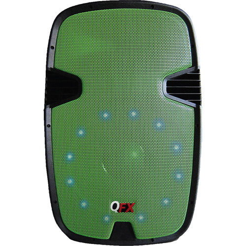 QFX Two-Way Cabinet Speaker with Built-In Amplifier, Bluetooth, and LED Light (Green)