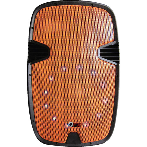 QFX Two-Way Cabinet Speaker with Built-In Amplifier, Bluetooth, and LED Light (Orange)