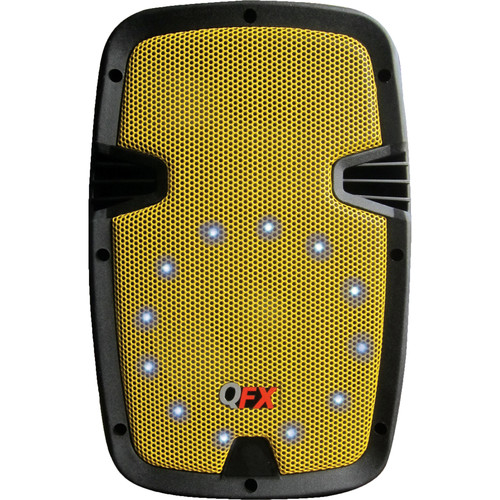 QFX Two-Way Cabinet Speaker with Built-In Amplifier, Bluetooth, and LED Light (Yellow)