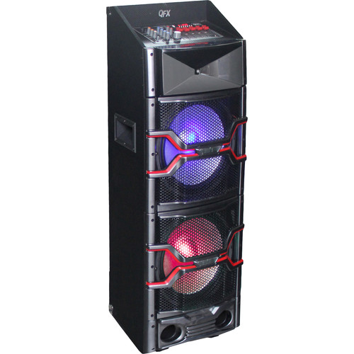 "QFX 2 x 12"" Speaker with Built-In Amplifier and Bluetooth (Black)"