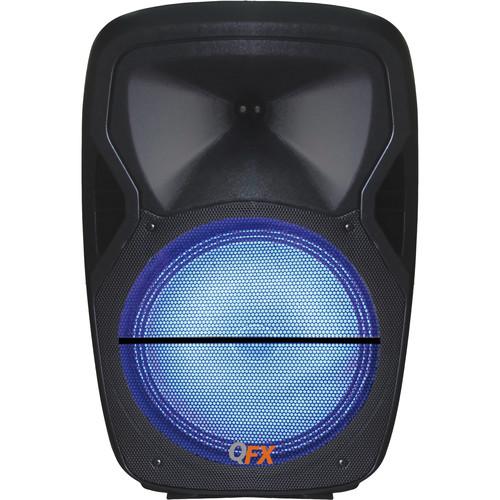 """QFX 15"""" PA Speaker Bluetooth FM/USB/SD/Mic/Lights"""
