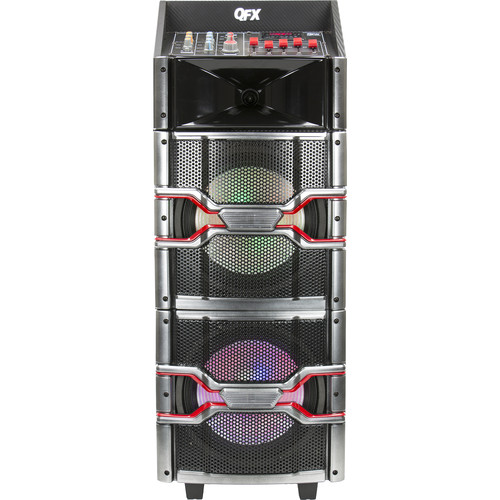 "QFX 2 x 10"" Speaker with Built-In Amplifier and Bluetooth (Black)"