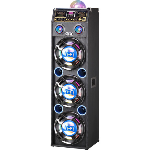 "QFX 3 x 10"" Professional Bluetooth PA Cabinet Speaker with Disco Lights (Black/Blue)"