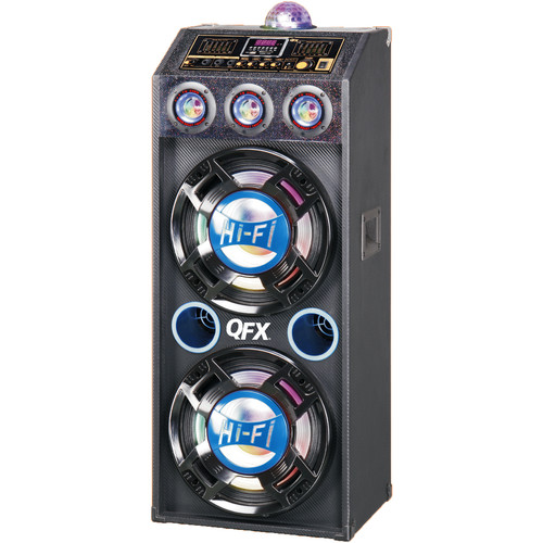 "QFX 2 x 12"" Bluetooth PA Cabinet Speaker with Disco Lights (Black/Blue)"