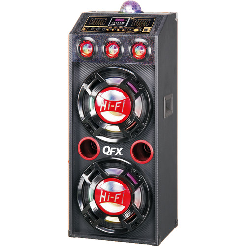 "QFX 2 x 12"" Bluetooth PA Cabinet Speaker with Disco Lights (Black/Red)"