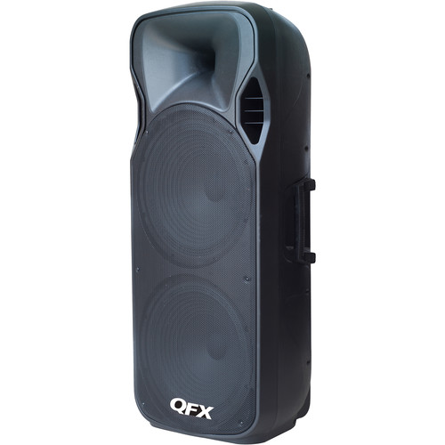 "QFX 2x 15"" Bluetooth Cabinet PA Speaker with Wireless Mic, USB, SD, & FM Radio (Black)"