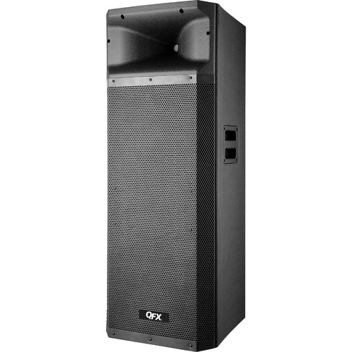 "QFX 2x15"" Bluetooth Cabinet PA Speaker with USB, SD, & FM Radio (Black)"
