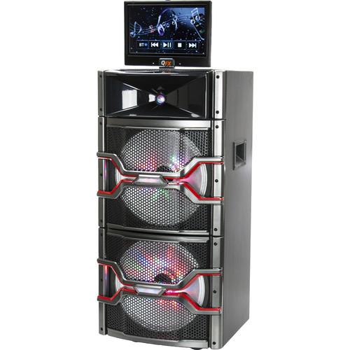 "QFX 2x 12"" Bluetooth Karaoke PA Speaker with Disco Lights (Black)"
