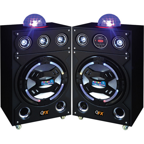 QFX SBX-921500BT CoverBand Duet Dual Pa Speaker with Built-In Amplifier