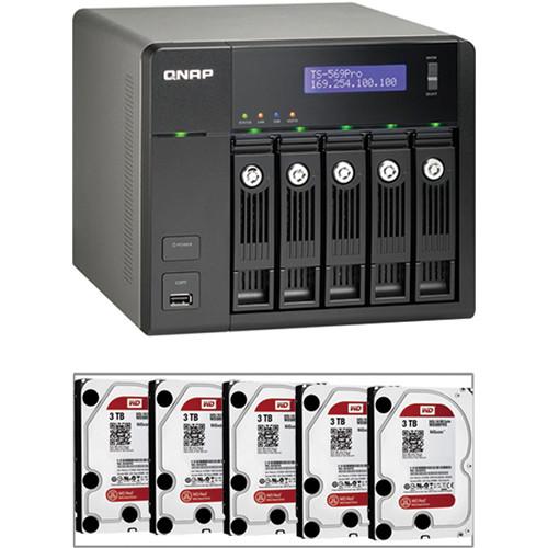 QNAP 15TB (5 x 3TB) TS-569 Pro 5-Bay Turbo NAS Server Kit with Hard Drives