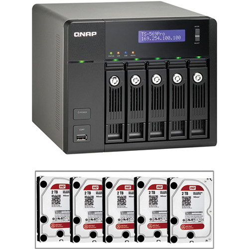 QNAP 10TB (5 x 2TB) TS-569 Pro 5-Bay Turbo NAS Server Kit with Hard Drives