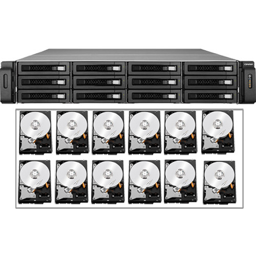 QNAP 24TB (12 x 2TB) TS-EC1279U-RP 12-Bay IP-SAN/ NAS SATA 6G/ USB 3.0 NAS Server Kit with Drives