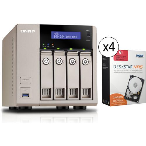 QNAP 24TB (4 x 6TB) TVS-463-8G 4-Bay Golden Cloud Turbo vNAS with Drives