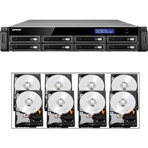 QNAP 32TB (8 x 4TB) TS-879U-RP 8-Bay IP-SAN/ NAS SATA 6G/ USB 3.0 NAS Server Kit with Drives
