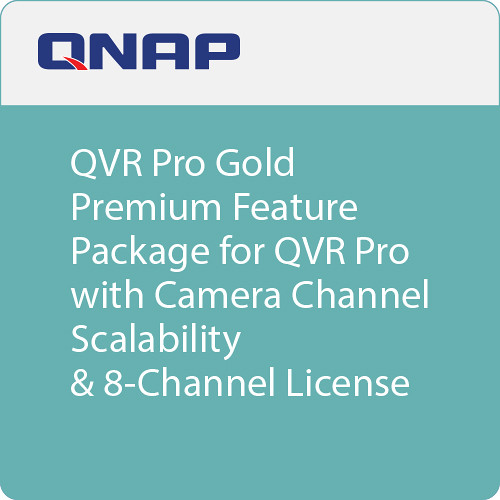 QNAP QVR Pro Gold Premium Feature Package for QVR Pro with Camera Channel Scalability & 8-Channel License