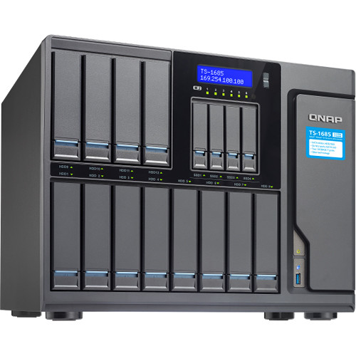 QNAP TS-1685 12 (+4) Bay/ iSCSI NAS, Intel D1531 6-Core 2.2GHz/ 16GB/ Sata 6G/ 4 X 1GBe/ 40GBe-Ready