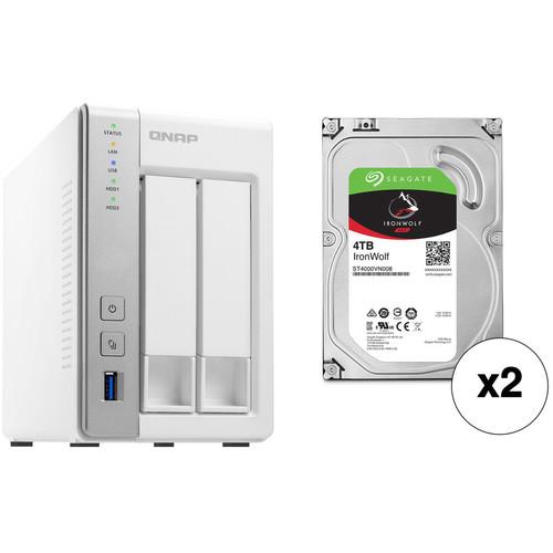QNAP TS-231P 8TB 2-Bay NAS Enclosure Kit with Seagate NAS Drives (2 x 4TB)