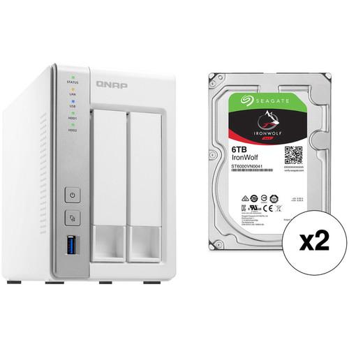 QNAP TS-231P 12TB 2-Bay NAS Enclosure Kit with Seagate NAS Drives (2 x 6TB)