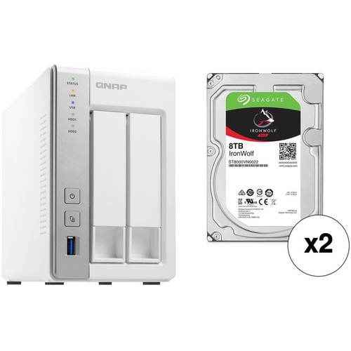 QNAP TS-231P 16TB 2-Bay NAS Enclosure Kit with Seagate NAS Drives (2 x 8TB)