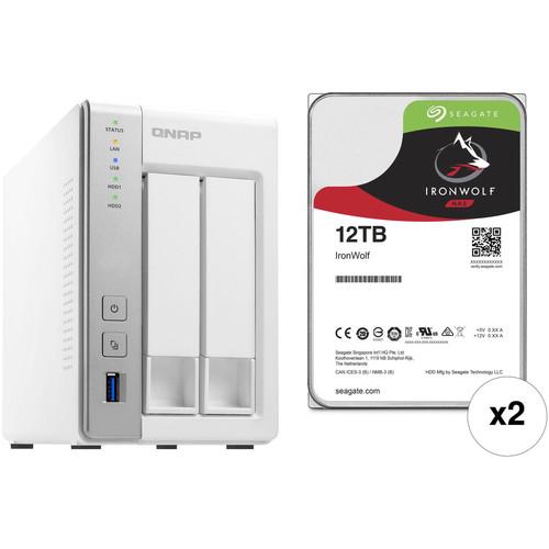 QNAP TS-231P 24TB 2-Bay NAS Enclosure Kit with Seagate NAS Drives (2 x 12TB)