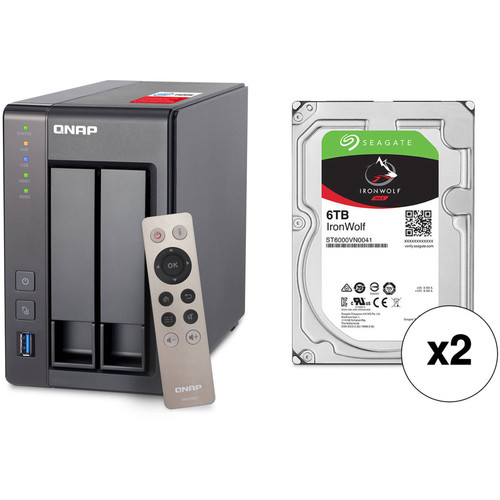 QNAP TS-251+ 12TB 2-Bay NAS Enclosure Kit with Seagate NAS Drives (2 x 6TB)