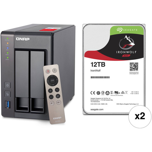 QNAP TS-251+ 24TB 2-Bay NAS Enclosure Kit with Seagate NAS Drives (2 x 12TB)