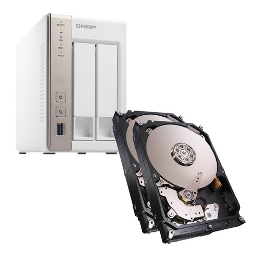 QNAP TS-251 6TB (2 x 3TB) 2-Bay NAS Server Kit with Seagate NAS Drives
