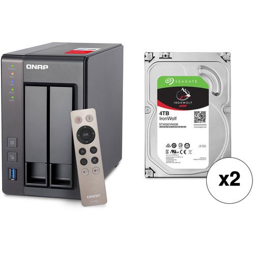 QNAP TS-251+ 8TB 2-Bay NAS Enclosure Kit with Seagate NAS Drives (2 x 4TB)
