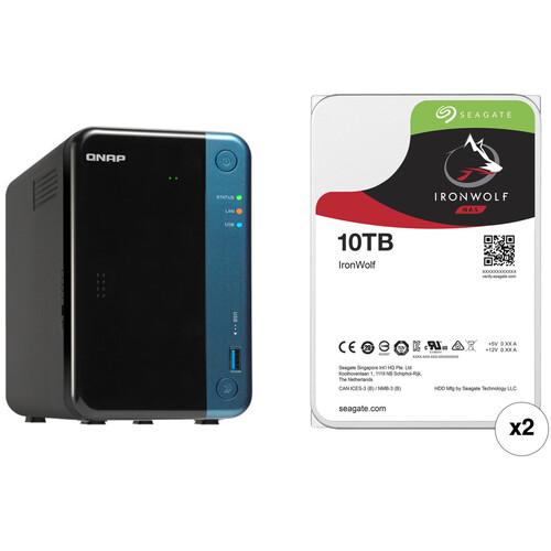 QNAP TS-253Be 20TB 2-Bay NAS Enclosure Kit with Seagate NAS Drives (2 x 10TB)