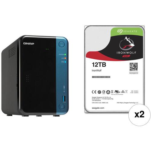 QNAP TS-253Be 24TB 2-Bay NAS Enclosure Kit with Seagate NAS Drives (2 x 12TB)