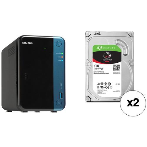 QNAP TS-253Be 8TB 2-Bay NAS Enclosure Kit with Seagate NAS Drives (2 x 4TB)