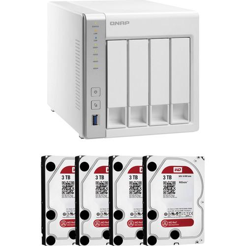 QNAP TS-431 12TB (4x3TB) 4-Bay NAS Server Kit with WD Red Drives