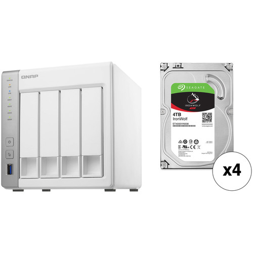 QNAP TS-431P 16TB 4-Bay NAS Enclosure Kit with Seagate NAS Drives (4 x 4TB)