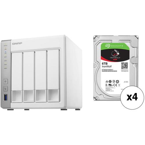 QNAP TS-431P 24TB 4-Bay NAS Enclosure Kit with Seagate NAS Drives (4 x 6TB)