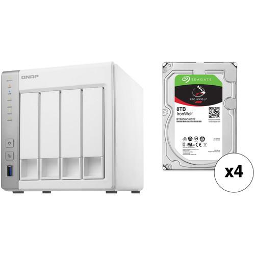 QNAP TS-431P 32TB 4-Bay NAS Enclosure Kit with Seagate NAS Drives (4 x 8TB)