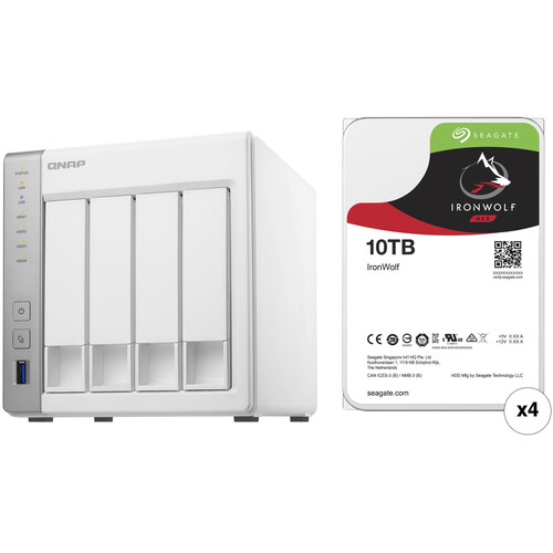 QNAP TS-431P 40TB 4-Bay NAS Enclosure Kit with Seagate NAS Drives (4 x 10TB)