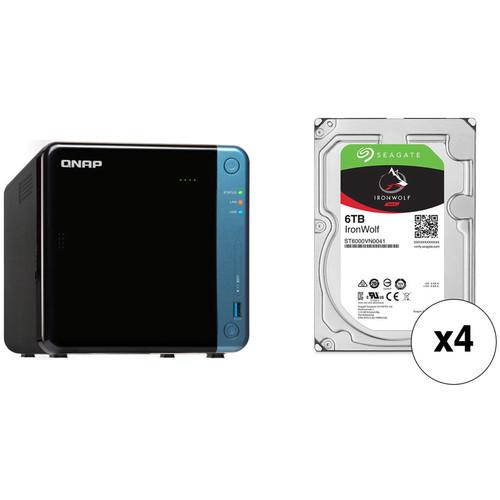 QNAP TS-453Be 24TB 4-Bay NAS Enclosure Kit with Seagate NAS Drives (4 x 6TB)