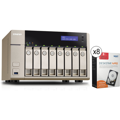 QNAP TVS-863+-16G 24TB (8 x 3TB) 8-Bay Golden Cloud Turbo vNAS Kit