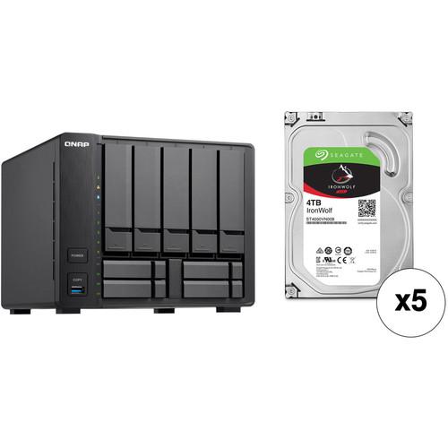 QNAP TVS-951X 20TB 9-Bay NAS Enclosure Kit with Seagate NAS Drives (5 x 4TB)