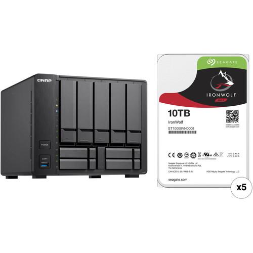 QNAP TVS-951X 50TB 9-Bay NAS Enclosure Kit with Seagate NAS Drives (5 x 10TB)