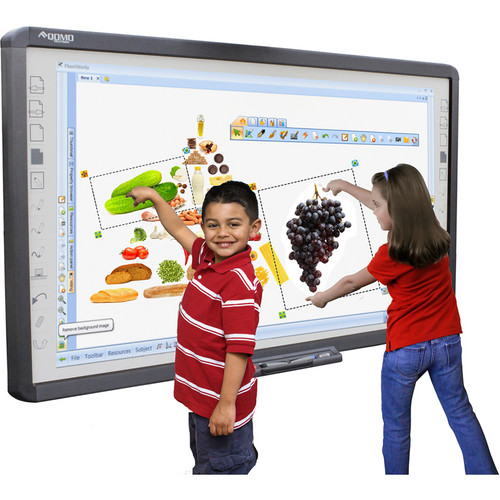 "QOMO HiteVision QWB100WS-PS H00 100"" Interactive Touch-Screen Porcelain Steel Dry-Erase Surface IR Whiteboard"