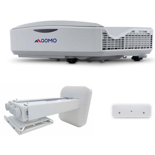 QOMO QP8000T 3700-Lumen WXGA DLP Interactive Laser Projector with Mount and Interactive Curtain Bundle