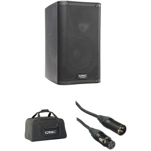 """QSC QSC K8 8"""" 1000W Powered Speaker with Soft Carry Bag and Cable Kit"""