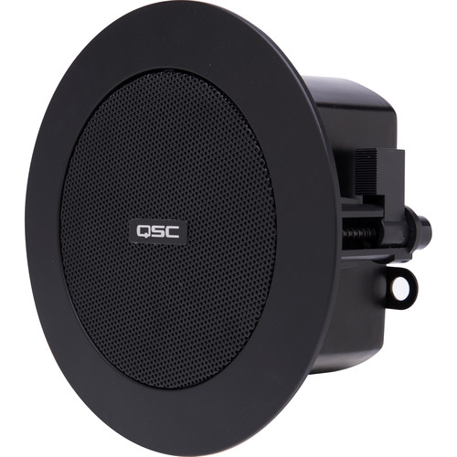 "QSC 2.75"" Small Format Ceiling Satellite Loudspeaker with C-Ring (Black) (Pair)"