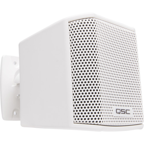 """QSC 2.75"""" Satellite Surface Speaker, 16-Ohm, 150 Degree Conical Coverage,Mounting Bracket (White) (Pair)"""