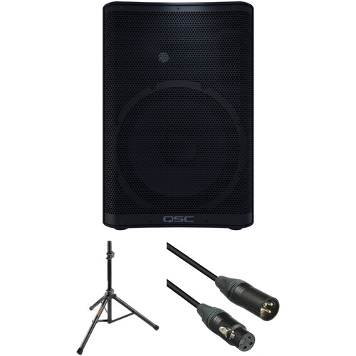 QSC CP12 Compact Loudspeaker with Stand and Cable Kit